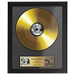 Casa Vivente Goldene Schallplatte zur Hochzeit, Foto-Druck, Personalisiert mit Namen, Datum und Foto, Inklusive dunklem Bilderrahmen