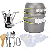 G4Free 2/4/13 PCS Camping Cookware Mess Kit Hiking Backpacking Picnic Cooking Bowl Non Stick Pot Knife Spoon Set