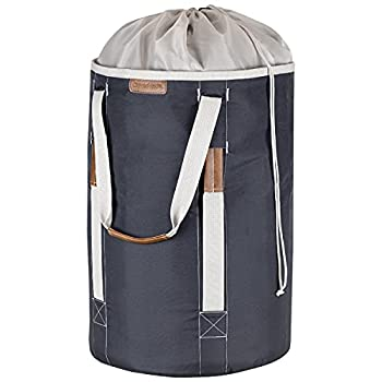 CleverMade Backpack Laundry Duffle Bag Tote with Comfortable Shoulder Straps and Durable Handles - Extra Large Capacity Polyester Clothes Hamper with Drawstring Top Closure Lid Charcoal