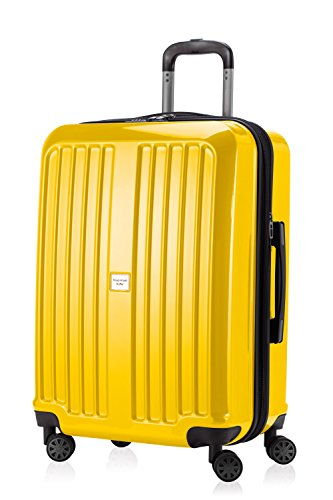 HAUPTSTADTKOFFER - X-Berg - Hand Luggage On-Board Suitcase Cabin Bag Hardside Spinner Trolley 4 Wheel, TSA, 65 cm, 90 liter, Yellow glossy