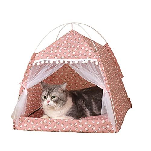 Gidenfly Cama para mascotas con dosel, portátil y plegable para cachorros, tienda de campaña pequeña para interiores y exteriores