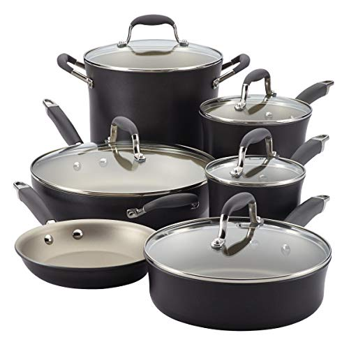 Anolon Advanced Pewter Hard Anodized Nonstick 11 Piece Cookware Set  (Pewter/grey)