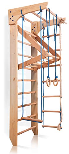 Wall Bars for Kids, Wood Stall Bar, Wooden Swedish Ladder, Kinder-4' - Certificate of Safe USE Home...