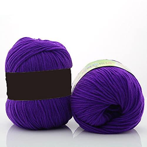 20 bolas de lana de algodón con leche para ganchillo, colores surtidos, suave y suave, doble tejido...