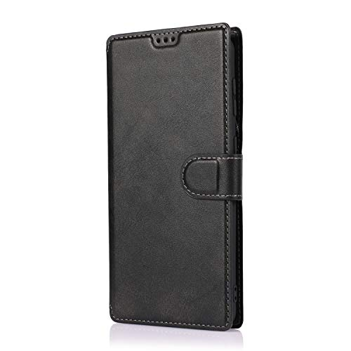 AChris Funda Samsung Galaxy A91 en Cuero Flip Fold Cover Case con Soporte/Tarjeta Ranuras Magnética Cartera Carcasa Anti-Arañazos Billetera Funda Libro de Cuero para Samsung Galaxy A91, Negro