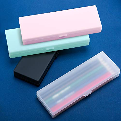 4 Pieces Plastic Pencil Case Plastic Stationery Case with Hinged Lid and Snap Closure for Pencils, Pens, Drill Bits, Office Supplies (Black, Pink, White, Green)