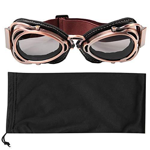 Retro Motorradbrille Motorrad Schutzbrille Outdoor-Sicherheit Augenschutz Brille staubdicht Fliegerbrille Winddichte Brille Bogenförmige Brille Outdoor-Sport Radfahren Reiten Skifahren(Bronze gray)