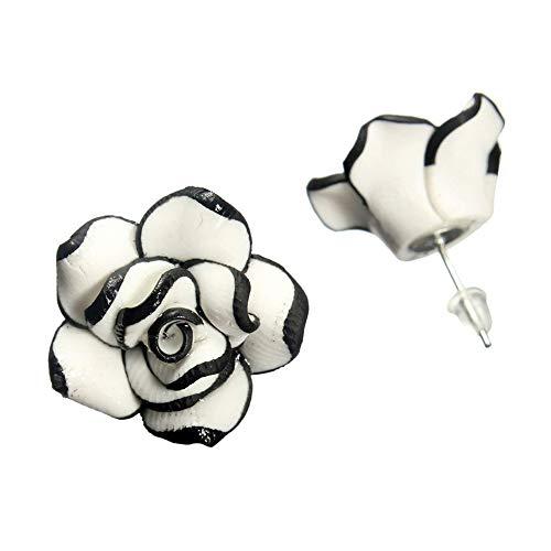 JER 1 Pendientes Mujeres Pares de aretes romántica de Rose Stud Porcelana clásica Rose Perno Prisionero del Poste (Negro, Blanco)
