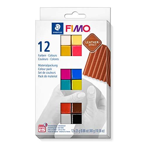 Staedtler Fimo Leather-Effect 8013 C12-2 Pasta Per Modellare In Forno, Effetto Finta Pelle E Al Tatto, Set Di 12 Colori, Multicolore