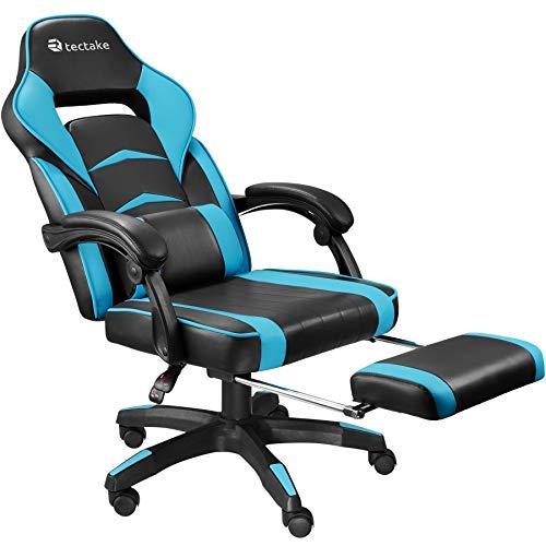 TecTake 800769 Bürostuhl mit Fußstütze, Chefsessel mit Lendenkissen, ergonomischer Schreibtischstuhl mit Armlehnen, höhenverstellbarer Gaming Stuhl - Diverse Farben - (Schwarz-Azur | Nr. 403462)