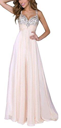 Bestfort Damen Partykleid Elegant V-Ausschnitt Rückenfrei Maxi Lang Pailletten Chiffon Kleid Abendkleid Cocktailkleid Evening Dress