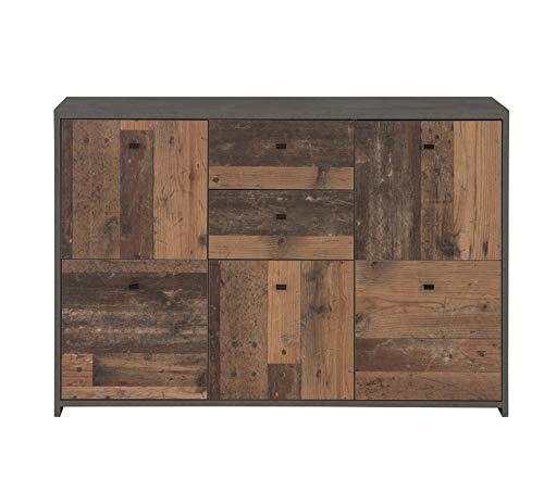 FORTE Kommode mit 5 Türen und 2 Schubkästen in trendiger Farbkombination Old-Wood Vintage kombiniert mit Betonoptik, 114,1 cm x 77,5 cm x 29,6 cm