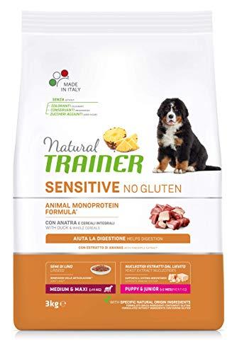 Natural Trainer Sensitive No Glutine - Cibo per Cani Medium-Maxi Puppy-Junior con Anatra e Cereali Integrali - 3kg