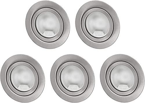 Pack de 5 focos empotrables G4 12 V, metal cepillado, para caja de 60 unidades, con cubierta de cristal mate, instalación de 60 mm de diámetro y 21 mm de profundidad