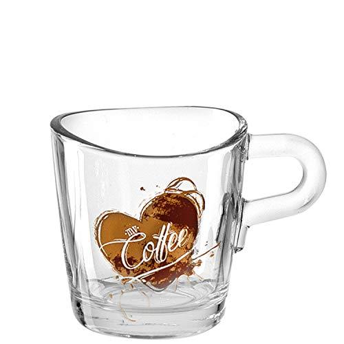 Leonardo Loop Espresso-Tasse, spülmaschinengeeignete Espresso-Becher mit Motiv, kleine Kaffee-Tasse, 6er Set, 75 ml, 022089