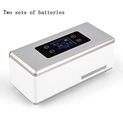 Draagbare koelbox met 2 – 8 graden mini-oplaadbare koeling, kleine koelkast (twee sets van batterijen).