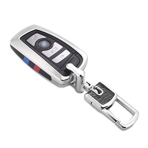 Kwak's Portachiavi per Auto Compatibile per BMW 1 3 4 5 6 7 Serie X3 X4 M5 M6 GT3 GT5 Chiave della Macchina Intelligente Keyless ABS Cover Chiavi Auto con Portachiavi in Metallo(Argento)