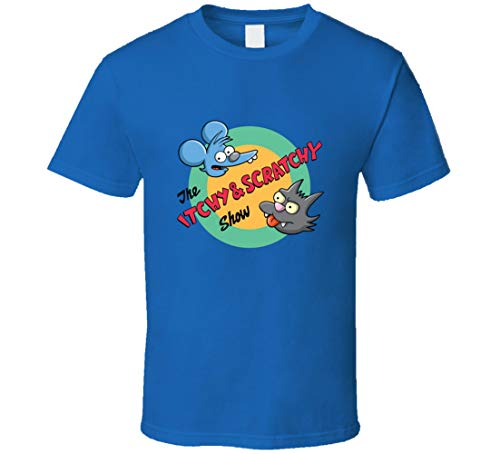 ALISUN Retro The Itchy and Scratchy Show Camiseta Azul Real