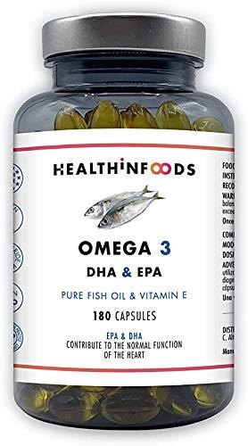 omega 3 capsulas omega-3 180 cápsulas omega3 Aceite de Pescado Ultra Puro 2250mg DHA+450 EPA Dosis diaria con Vitamina EHealthinfoods