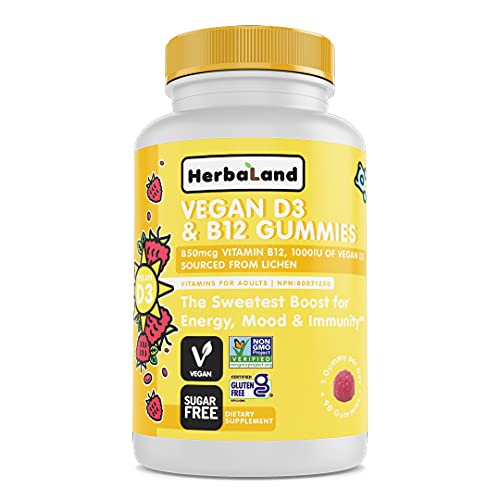 Herbaland Vegan D3 and B12 Gummies for Adults - Sugar-Free, Chewable Vitamin D from Lichen and B12 from Methylcobalamin, Immune Boost Supplement - 2.2 Grams, Raspberry Flavor, 90 Count