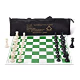Paramount Dealz 17'x 17' Professional Vinyl Chess Set (Fide Standards)- with 2 Extra Queens/Carry Pouch, Green (Green Chess Set)