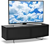 """Centurion Supports Caru Gloss Black and Walnut Beam-Thru Remote Friendly Super-Contemporary""""D"""" Shape Design 32""""-65"""" LED/OLED/LCD TV Cabinet"""