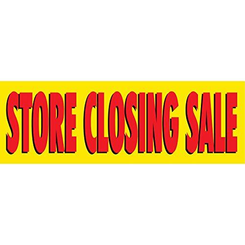 HALF PRICE BANNERS | Store Closing Sale Vinyl Banner -Indoor/Outdoor 2X6 Foot -Yellow | Includes Zip Ties | Easy Hang Sign-Made in USA