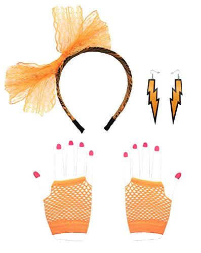 X Hot Popcorn 80er Jahre Neon Spitze Stirnband Ohrringe fingerlos Fischnetz Handschuhe 80er Jahre Kostüm Zubehör 3 Set für 80er Party, Orange