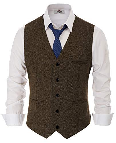 PaulJones Caparaçon Uomo Vest Slim Sleeveless alla moda con scollo a V Taglia S Blue Brown