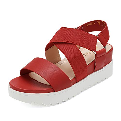 DREAM PAIRS Women's Red Open Toe Ankle Strap Platform Wedge Sandals Size 8 M US Charlie-5