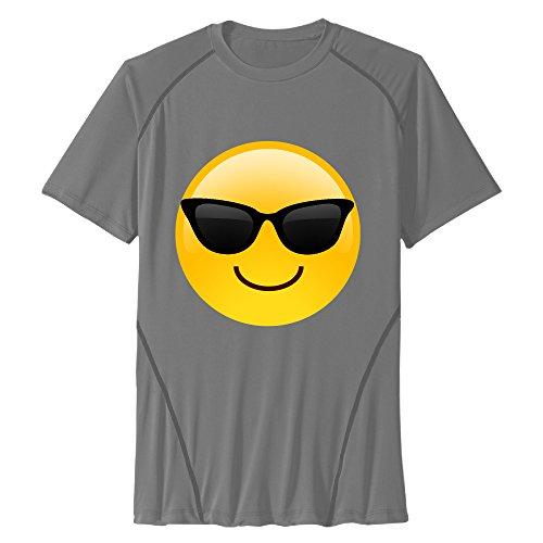 Zhanzy Hombres de Smiley Gafas de Sol Emoji Athletic Secado rápido Todos en Entrenamientos Deportivos de Manga Corta Tees T Shirt Tamaño US Negro