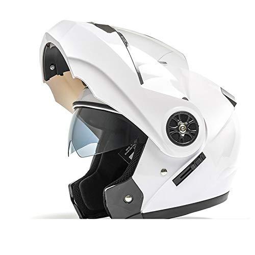 Stella Fella Cascos para hombre doble espejo de cara abierta casco universal cuatro estaciones casco eléctrico motocicleta casco completo Bluetooth señoras casco blanco (tamaño: M)