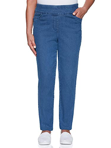 Alfred Dunner Women's Pearls of Wisdom Proportioned Superstretch Denim Pants - Medium Length - Plus Size, Denim, 24 Plus