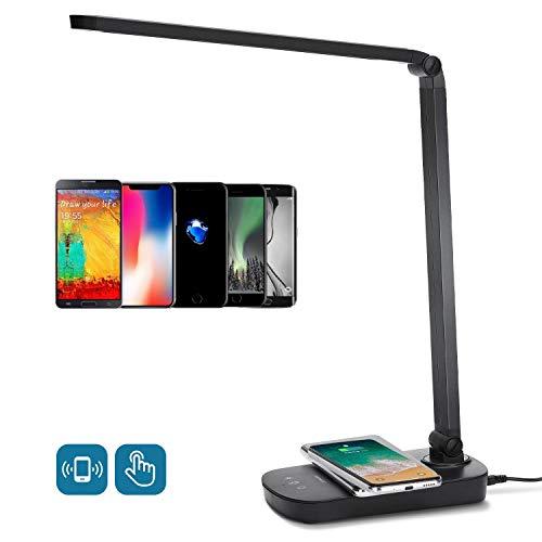 Schreibtischlampe Led Ladefunktion Qi Augenschutz Induktiv Kabellos Wireless Handy Laden Tischlampe Tageslicht Tischleuchte mit USB Büro Kinder Schreibtischleuchte, 5W (13 Watt) Dimmbar Schwarz