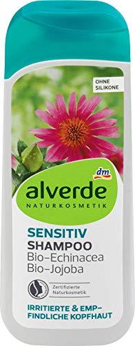 Alverde Sensitiv Bio-Shampoo für empfindliche und gereizte Kopfhaut – 200 ml mit Echinacee und Jojoba-Extrakt