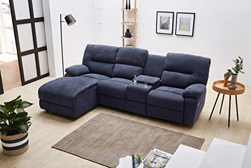 lifestyle4living Sofa Webstoff Blau, Ecksofa mit Liegefunktion zum relaxen, Kinosofa inkl. Getränkehalter und Stauraumfach, Moderne Eckcouc mit hochwertiger Polsterung