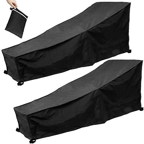 Gartenliege Abdeckung, 2er Pack Sonnenliege Schutzhülle Wasserdicht, Winddicht, UV-Beständig 210D Oxford Gewebe Schutzhülle für Sonnenliege Liegestuhl Deckchair, 200 x 70 x 40 / 75cm (Schwarz)