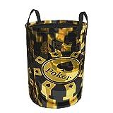 Cesto de ropa sucia plegable impermeable redondo,decoraciones de torneos de póquer Fichas de póquer doradas y negras Club de juego Pila de monedas Apuesta decorativa,con de19'X14'