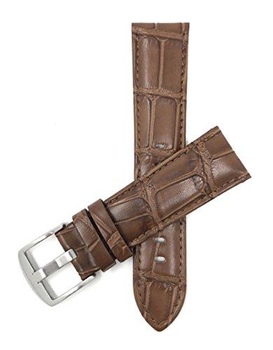 Leder Uhrenarmband 20mm für Herren, Hellbrun, Krokodilmuster, auch verfügbar in schwarz, braun