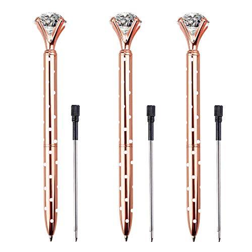 LONGKEY 3PCS Rose Gold With Dot Diamond Pens Large Crystal Diamond Ballpoint Pen Bling Metal Ballpoint Pen Office and School Including 3 Pen Refills … Photo #5