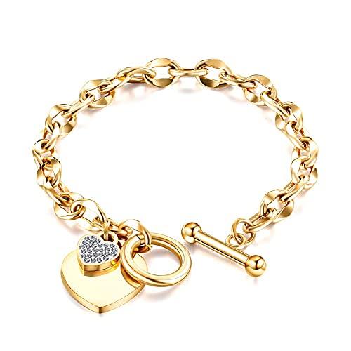 Pulsera De Todo Fósforo con Hebilla OT Geométrica Simple Accesorios De Pulsera De Corazón De Amor De Diamantes De Moda Femenina,Oro