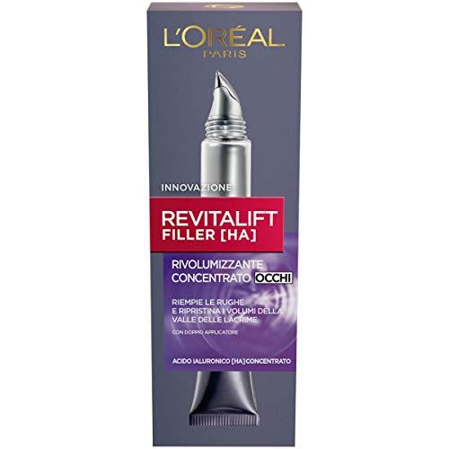 L Oréal Paris Contorno Occhi Revitalift Filler, Azione Antirughe Rivolumizzante con Acido Ialuronico Concentrato, 15 ml