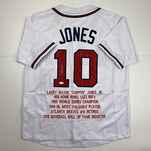 Autographed/Signed Chipper Jones Atlanta White Stat Baseball Jersey JSA COA