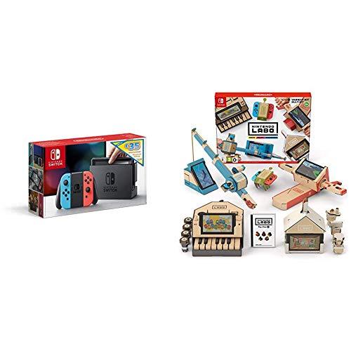 Console Nintendo SwitchTM avec une Joy-ConTM bleu néon et une Joy-ConTM grise Edition Limitée + code de téléchargement 35€ Nintendo eShop + Kit Labo Multikit