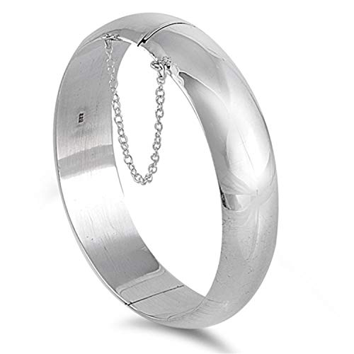 18MM Wide Round Polished Half Dome Hinged Bangle Bracelet for Women/Teenager/Girls With Safety Chain - 925 Sterling Silver - Diameter: 65mm