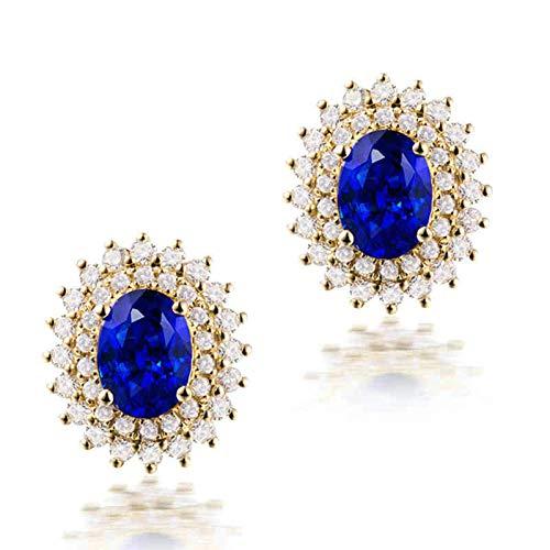 Daesar Pendientes Mujer Oro Amarillo 18K,Flor con Oval Zafiro Azul 2.85ct Diamante 1.07ct,Oro Azul