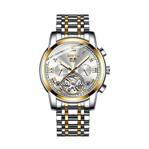 A-ZHP Herren-Armbanduhr Armbanduhr Herren Business Mechanische Uhr Analoge Funktion Freizeit Sport Persönlichkeit Halb Transparent Chassis Kleid Uhren (Farbe : C)