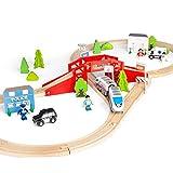 WOOMAX - Circuito Tren de madera 50 piezas (46444)