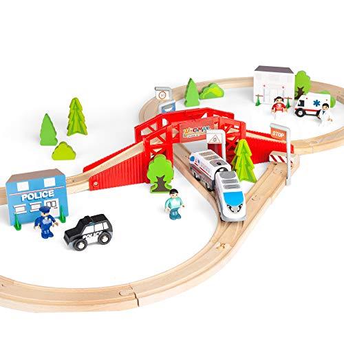 WOOMAX - Circuito tren de madera 50 piezas WOOMAX (46444)