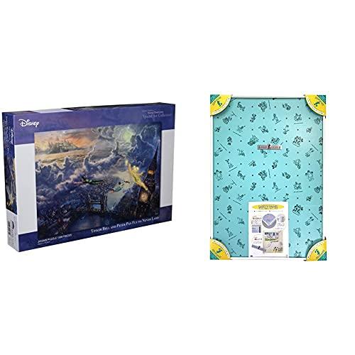 1000ピース ジグソーパズル ピーターパン Tinker Bell and Peter Pan Fly to Never Land スペシャルアートコレクション (51x73.5cm) & アルミ製パズルフレーム ディズニー専用セーフティパネル 1000
